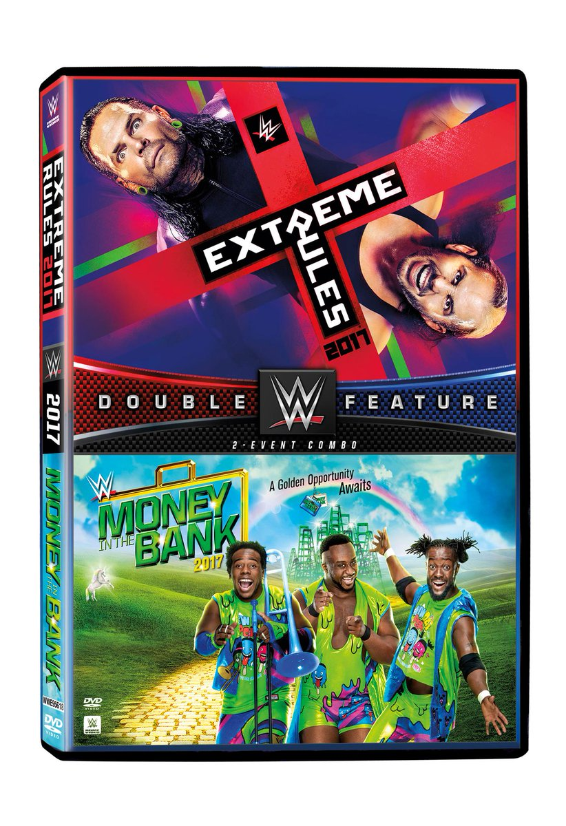 Bring home the action from @WWE #ExtremeRules & #MITB with this double feature, available on DVD 7/18!
