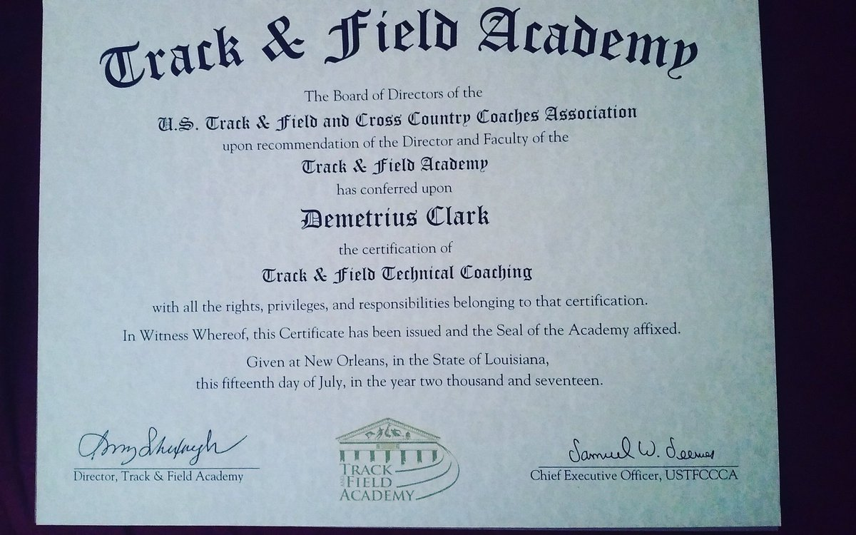 Demetrius clark on twitter got my ustfccca track and field demetrius clark on twitter got my ustfccca track and field technical coaching certification it was great course knowledge trackcoach education 1betcityfo Image collections
