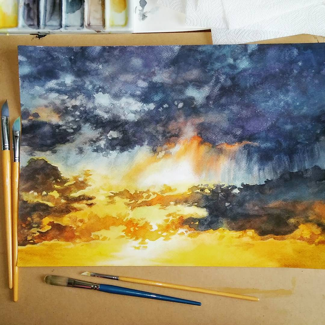 I finished new #watercolor #sky today! :D Do you like it?  #sunset #clouds<br>http://pic.twitter.com/qZI5jjZu2g
