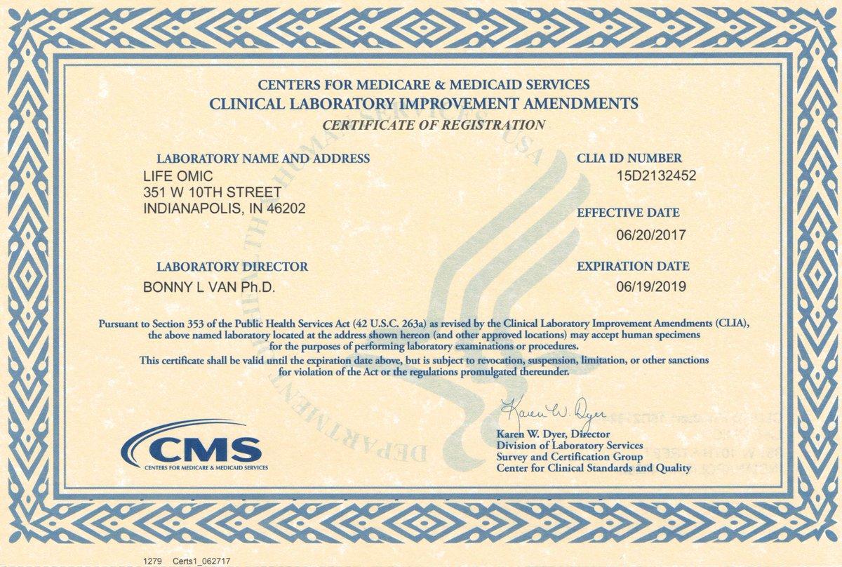 Lifeomic On Twitter Lifeomic Posts Clia Certificate Of