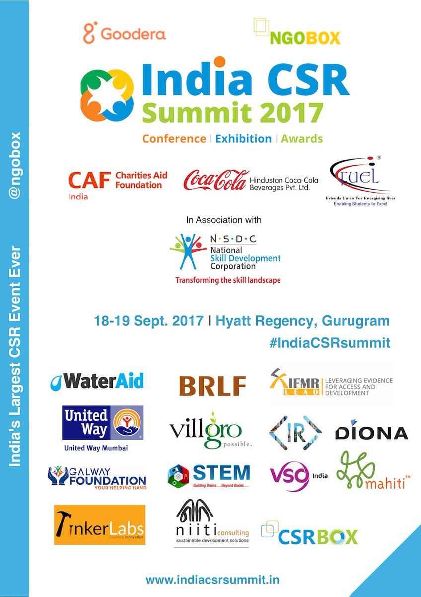 Join 350+ businesses, 600+ #NGOs 120 #socents  and many more in India&#39;s largest #CSR forum #IndiaCSRsummit more at  http:// indiacsrsummit.in / &nbsp;  <br>http://pic.twitter.com/fK5FdC6XZ2