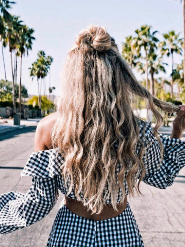 Peinados con ondas y trenzas
