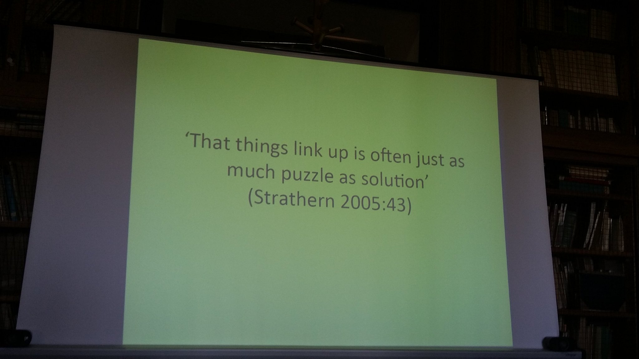 "#colleex @kaisirlin twitter exploration's closing quote ""That things link up is often just as much puzzle as solution"" (Strathern 2005:43) https://t.co/quH6X6rDFp"