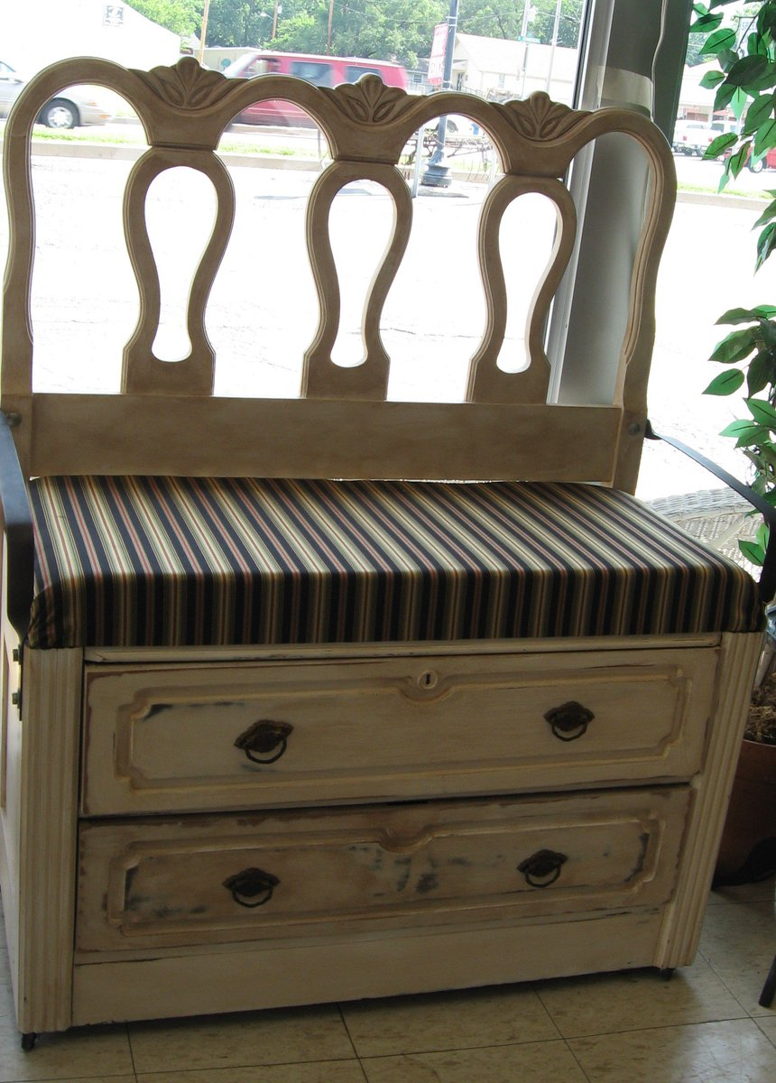 Bench with storage drawers 40&quot;W x 20&quot;D x 27&quot;H $175 #repurposed elements for practical living #industrial armrest &amp; cushy seat #kcmo<br>http://pic.twitter.com/riWsQFajVM