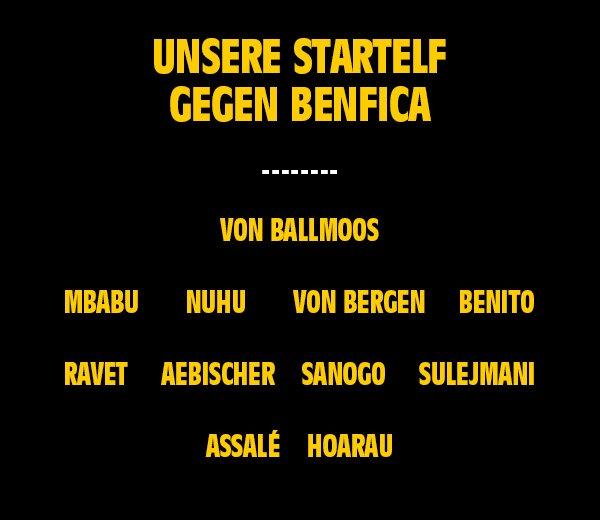 So startet YB gegen Benfica. @Uhrencup #YBSLB https://t.co/cVhhxgiLDL