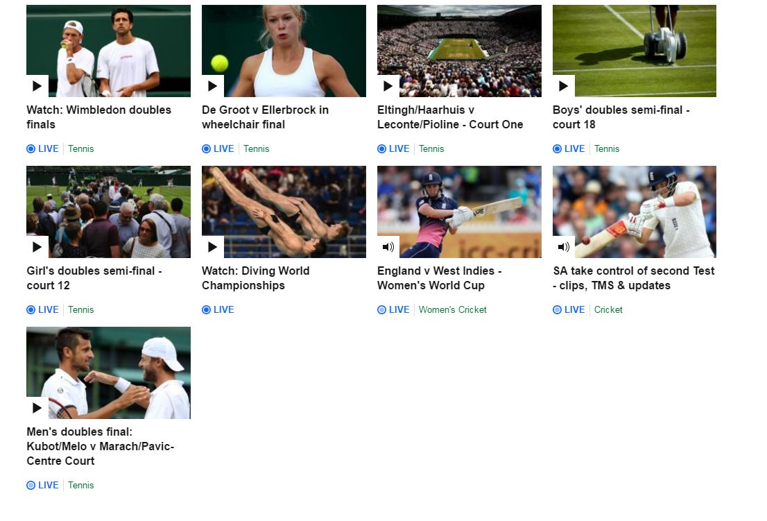 There's still plenty of tennis going on at #Wimbledon.   Take your pick here: https://t.co/6164zZ2lRF https://t.co/SN82Tof5Yk