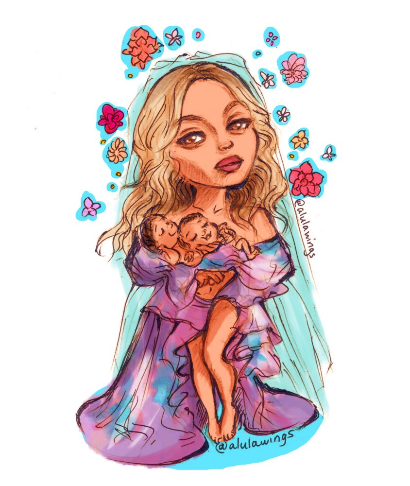 I cartoonized @Beyonce 's portait with her twins because that photograph was just so incredibly beautiful. https://t.co/TZITrxcekc