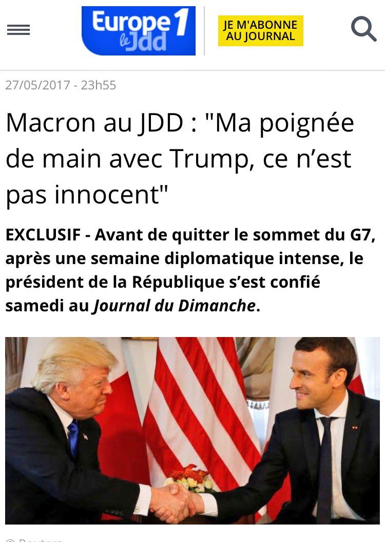 [Tuto des nouvelles habitudes présidentielles] Macron ne parle de Trump qu'à @Frclemenceau du JDD. #ComPol