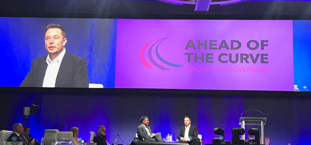 At @NatlGovsAssoc, @elonmusk predicts in 10 yrs, 50% of new autos will be EV & nearly all will be autonomous https://t.co/JuCfTL4ykD