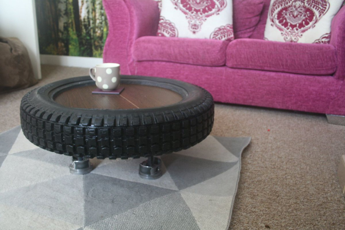 Repurposed Motocross Tyre Coffee table Buy from Etsy here -  http:// bit.ly/2uqLnxo  &nbsp;   #repurposed #upcycled #motocross #motorbike<br>http://pic.twitter.com/D5lidqnDR5