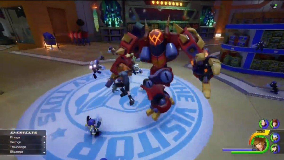 KH3:新ワールド「トイストーリー(Toy Story)」のおもちゃ屋らしき所。ロボを次々と乗り換えてFPS視点で敵を攻撃するのが超痺れる、タイタンフォールみたい!!!