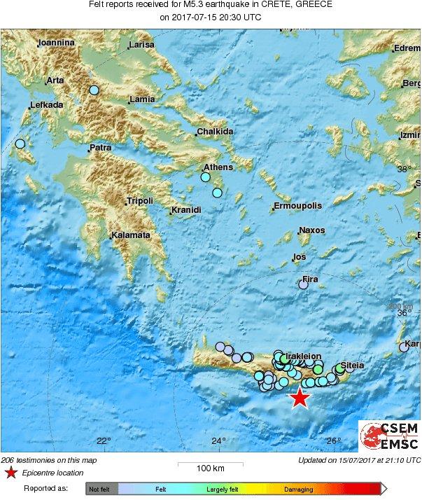 Crete Greece Map Testimonies Received Earthquake Crete