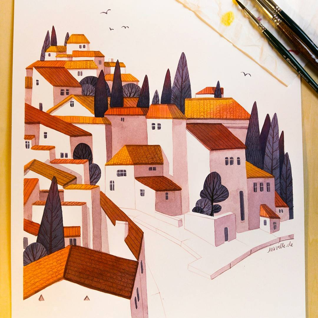 Watercolor painting with indian yellow, geranium red and indigo  #illustration #art #watercolor #painting #aquarell<br>http://pic.twitter.com/pWysg5zgcn