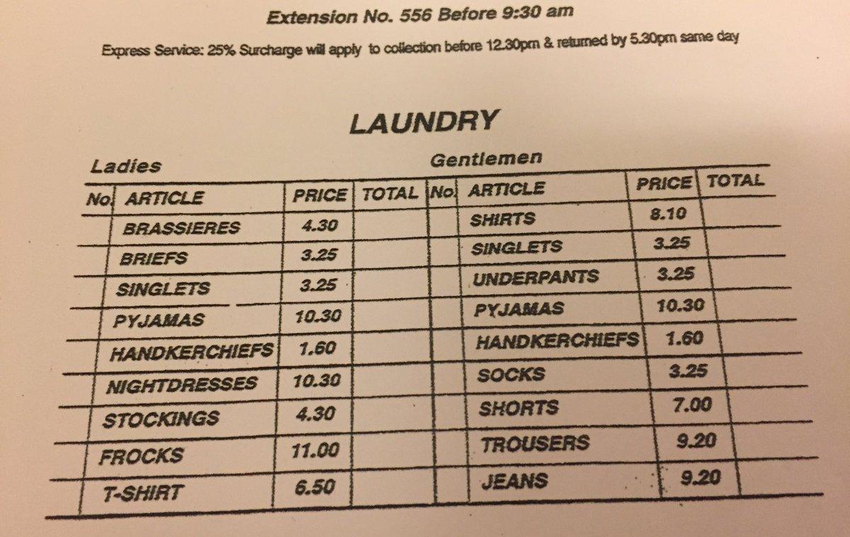 Hotel Laundry Service Price List