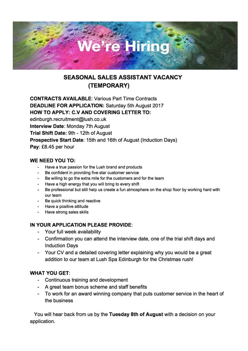 Lush spa edinburgh lushedinburgh twitter for Lush cover letter examples