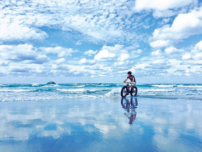これ鳥取でできるんです。 ウユニ塩湖みたい。