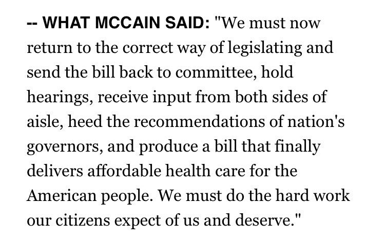 Why he did it. @SenJohnMcCain's powerful words on why he voted no on healthcare bill.