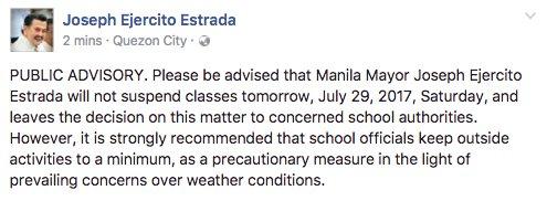 #MayPasok : Manila Mayor Joseph Ejercito Estrada will not suspend classes tomorrow, July 29. #WalangPasok   updatehttps://t.co/iyqsazIvQVs: