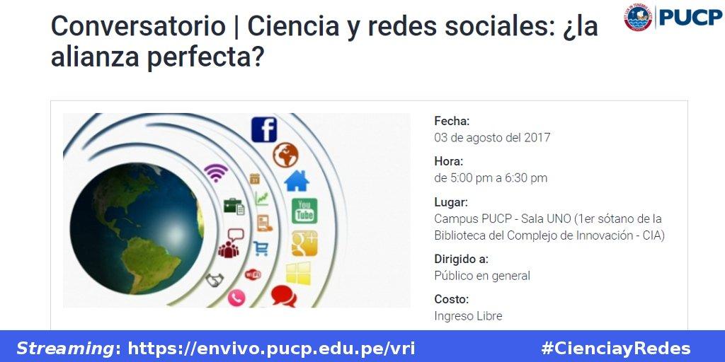 """Anuncio de la conferencia """"Ciencia y redes sociales: ¿la alianza perfecta? el próximo 3 de agosto a las 5pm"""
