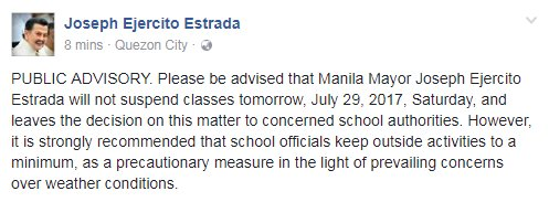 .@PresidentErap will NOT suspend classes in the City of Manila on Saturday, July 29, 2017. https://t.