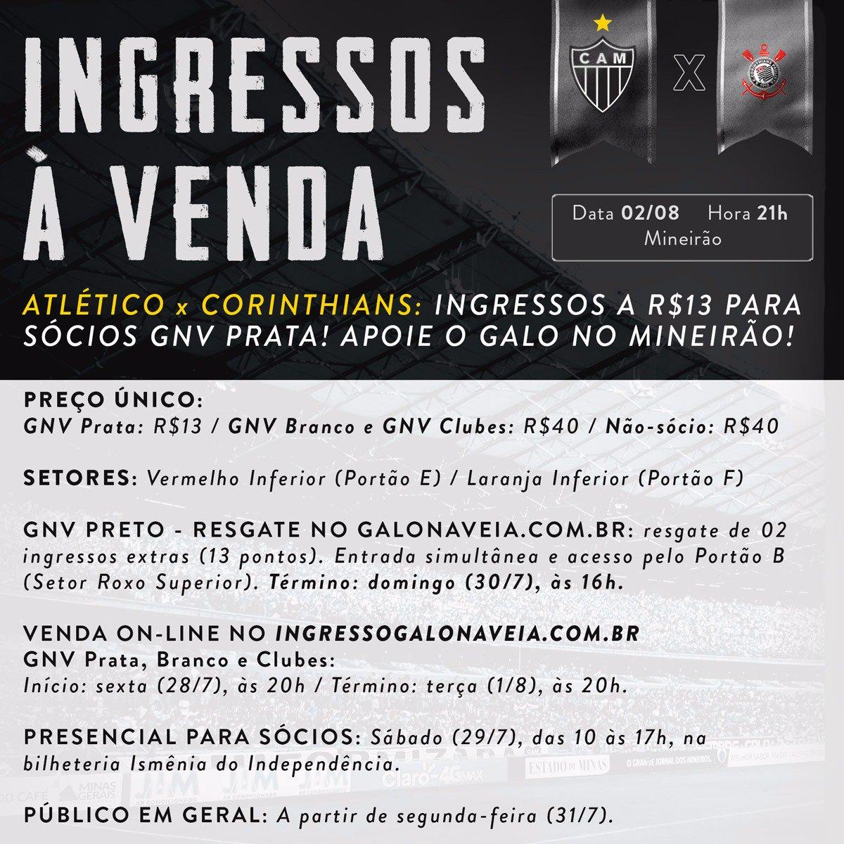 Atlético x Corinthians no Mineirão: ingressos a R$13 para sócios! Apoie o Galo no Brasileirão: https://t.co/UdKz4GkAKy Vamos, #Galo!