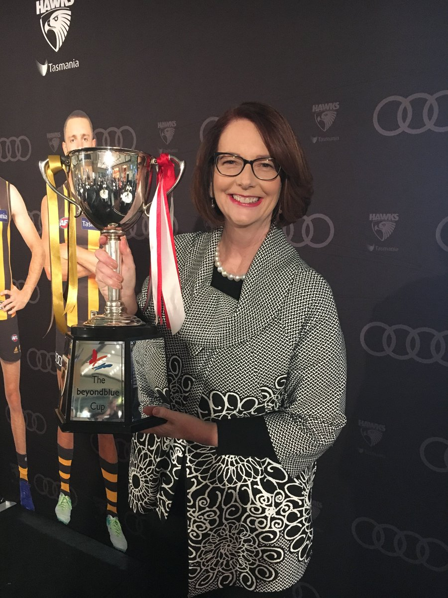 Enjoying the @beyondblue cup. Talking about mental health is the game changer. - JG