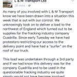 BOOM. Haulage firm L&M Transport pull out of working for Caudrilla & any fracking firm: