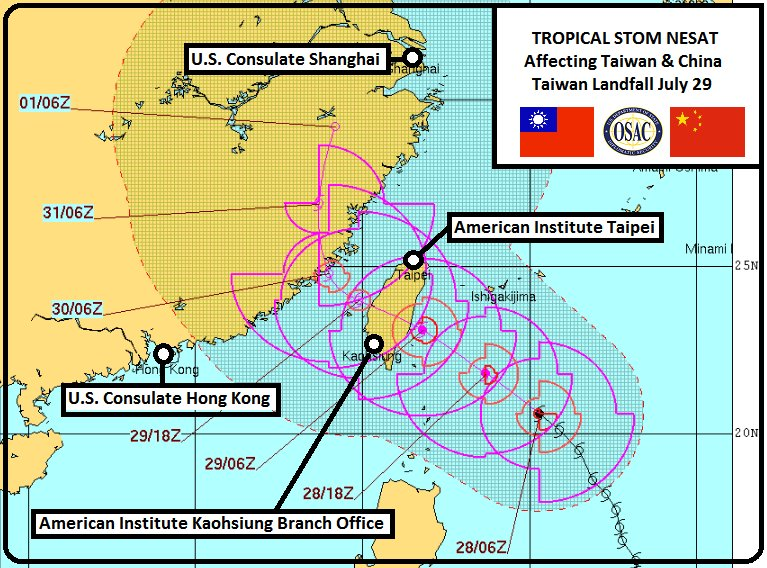 🇹🇼🌀 Security Message from American Institute Taipei notes Tropical Storm Nesat to make landfall Saturday in Taiwan. https://t.co/CN49XKLkHq