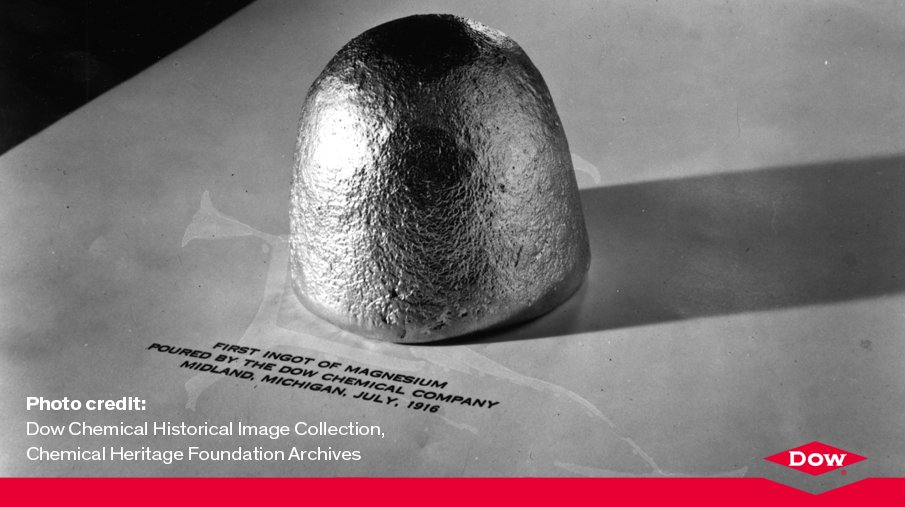 #OnThisDay in 1916, Dow researchers succeeded in extracting magnesium metal from brine.  #DowStory