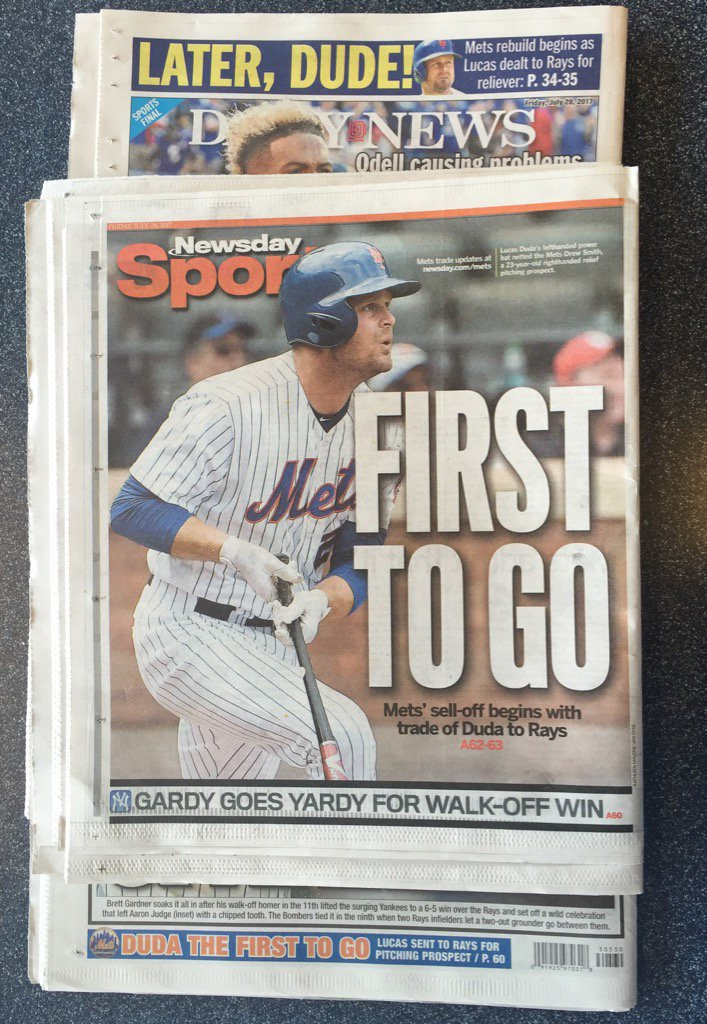 #Rays deal to get Duda from #Mets got some play in NY papers today