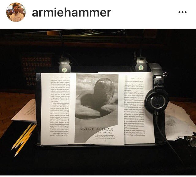 Look whos recording the audio book of Call Me By Your Name... @armiehammer