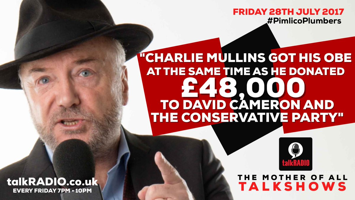 #LIVE 'Charlie Mullins got his OBE at the same time as he donated £48,000 to David Cameron and the Conservative Party' @talkRADIO
