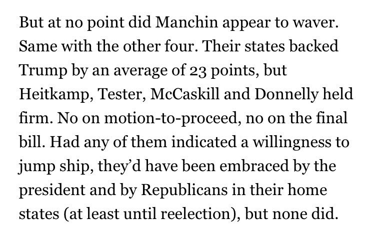 Overlooked point: Manchin and the other vulnerable Trump-state Dems never wavered on the health bill. https://t.co/DcRmD8h88U