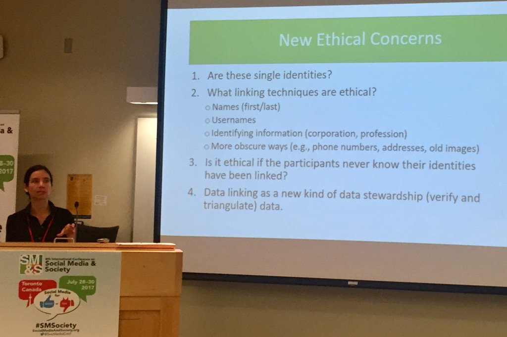 .@anabelquanhaase on new ethical challenges and concerns with linking social media data #SMSociety https://t.co/ebC2lY2vml