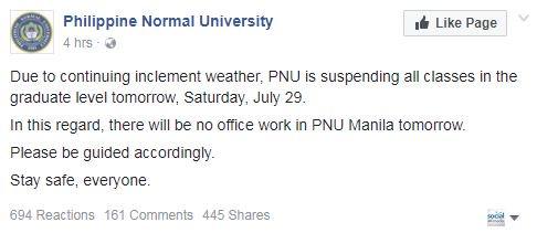 @len_oreta @Navotas_City PHL NORMAL UNIVERSITY — All classes in the graduate level suspended tomorrow, Saturday, July 29, 2017. No office work in PNU Manila | PNU Fb https://t.co/7OBKNK