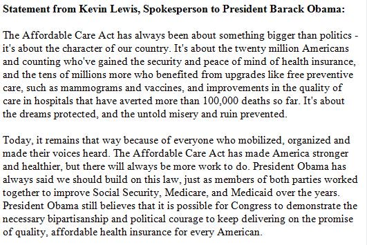 JUST IN: Statement from Kevin Lewis, Spokesperson to President Barack Obama