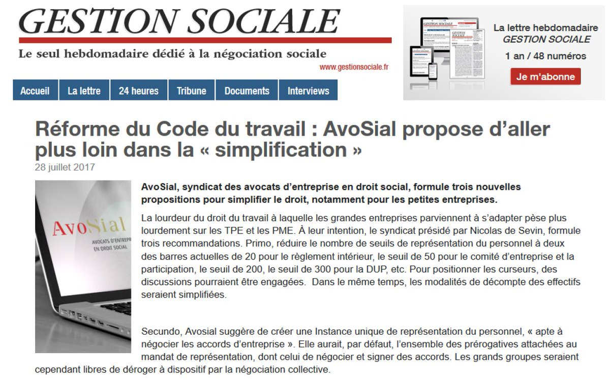 """#AvoSial dans la #presse : """"Réforme du Code du travail : AvoSial propose d'aller +loin dans la « simplification »  http:// ow.ly/Pjev30dZq5k    pic.twitter.com/W4ppy3dJqh"""