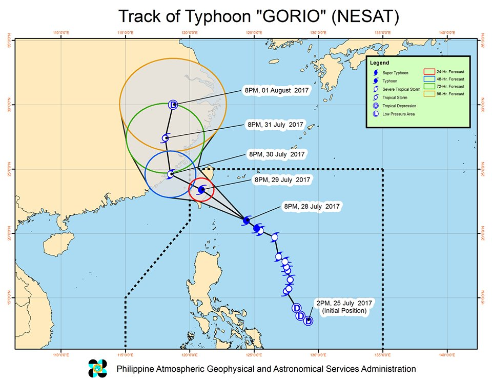 @dost_pagasa At 10:00 PM today, the eye of #GorioPH  was located at 255 km East Northeast of Basco, Batanes; forecast to move Northwest at 17 kph. https://t.co