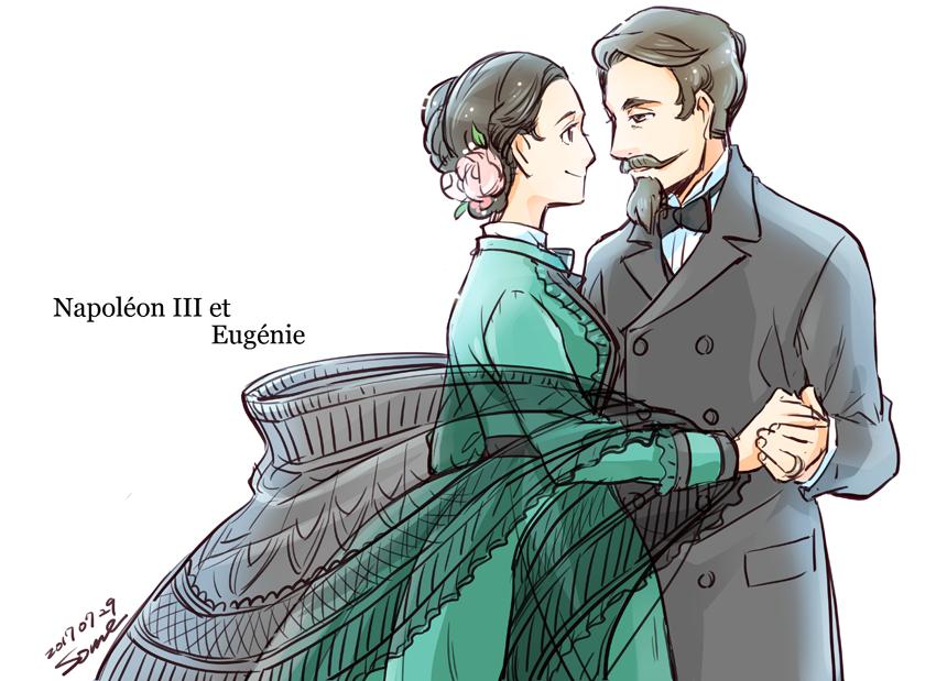 #世界史創作企画 夏の世界史創作祭り、本日22時までとの事なので最後に自分の好きな仏君主夫婦を描きました。1枚目がルイ16世とアントワネット、2枚目がナポレオン三世とウジェニーです