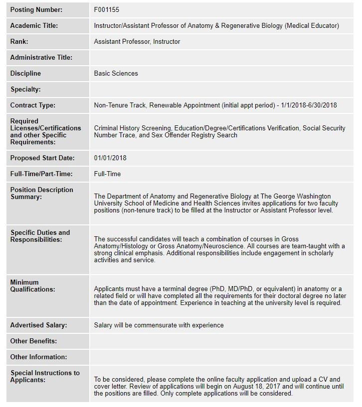 Australian Nz Association Of Clinical Anatomists On Twitter Job