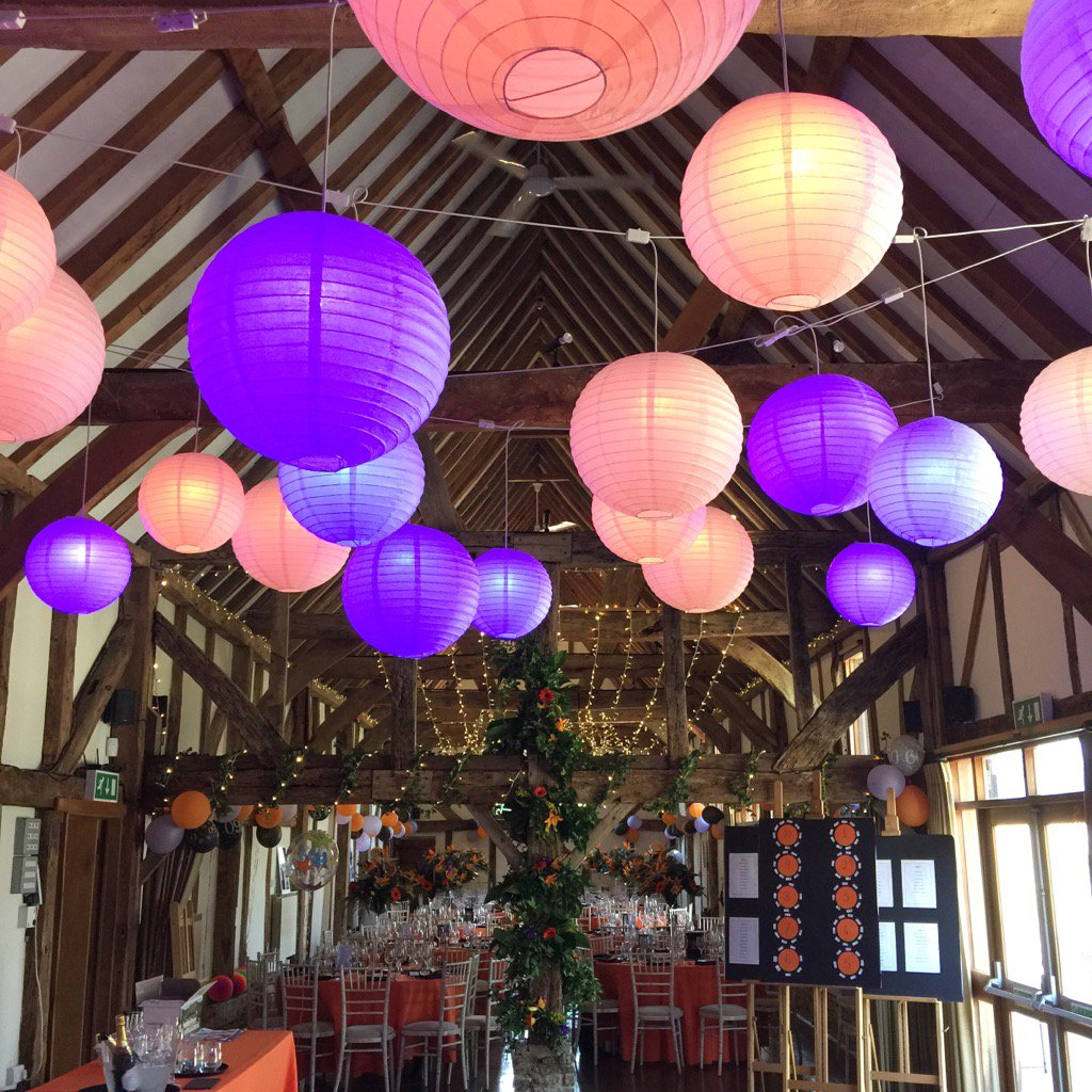 #party in the #barn @LoseleyPark @Loseleyevents love the vibrant colours and lanterns from @OakwoodEventsUK