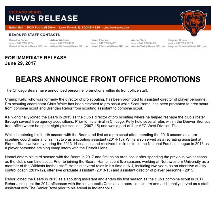 Chicago Bears Front Office
