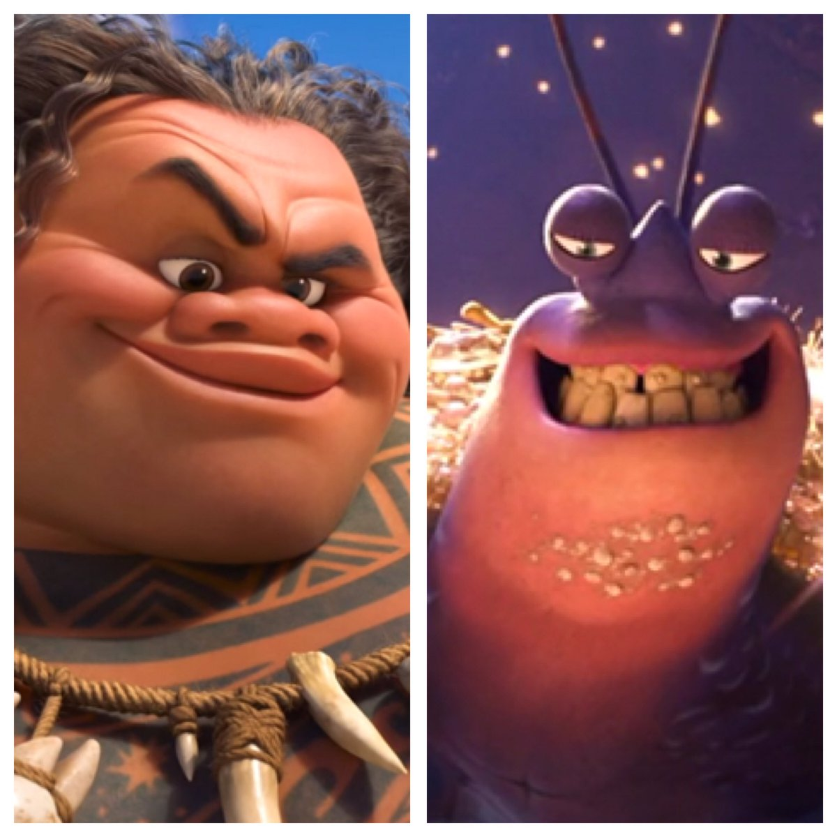 Maui/Tamatoa: Demi-God training bros till Tamatoa lost a battle, got stuck as a crab, and lost access to the fish hook. #InstantFanTheory <br>http://pic.twitter.com/194twiwDDe