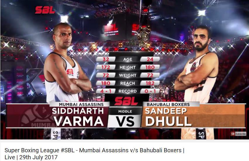 #SiddharthVarma VS #SandeepDhull at #SuperBoxingLeague, watch live webcast:  #SBL #HitHarder #SBLMumbaiVSBahubali