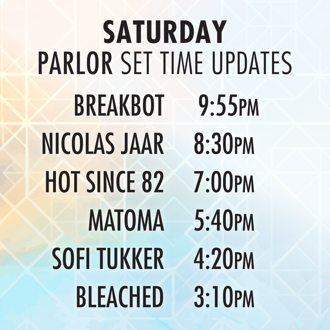 panorama on twitter updated saturday set times for the parlor