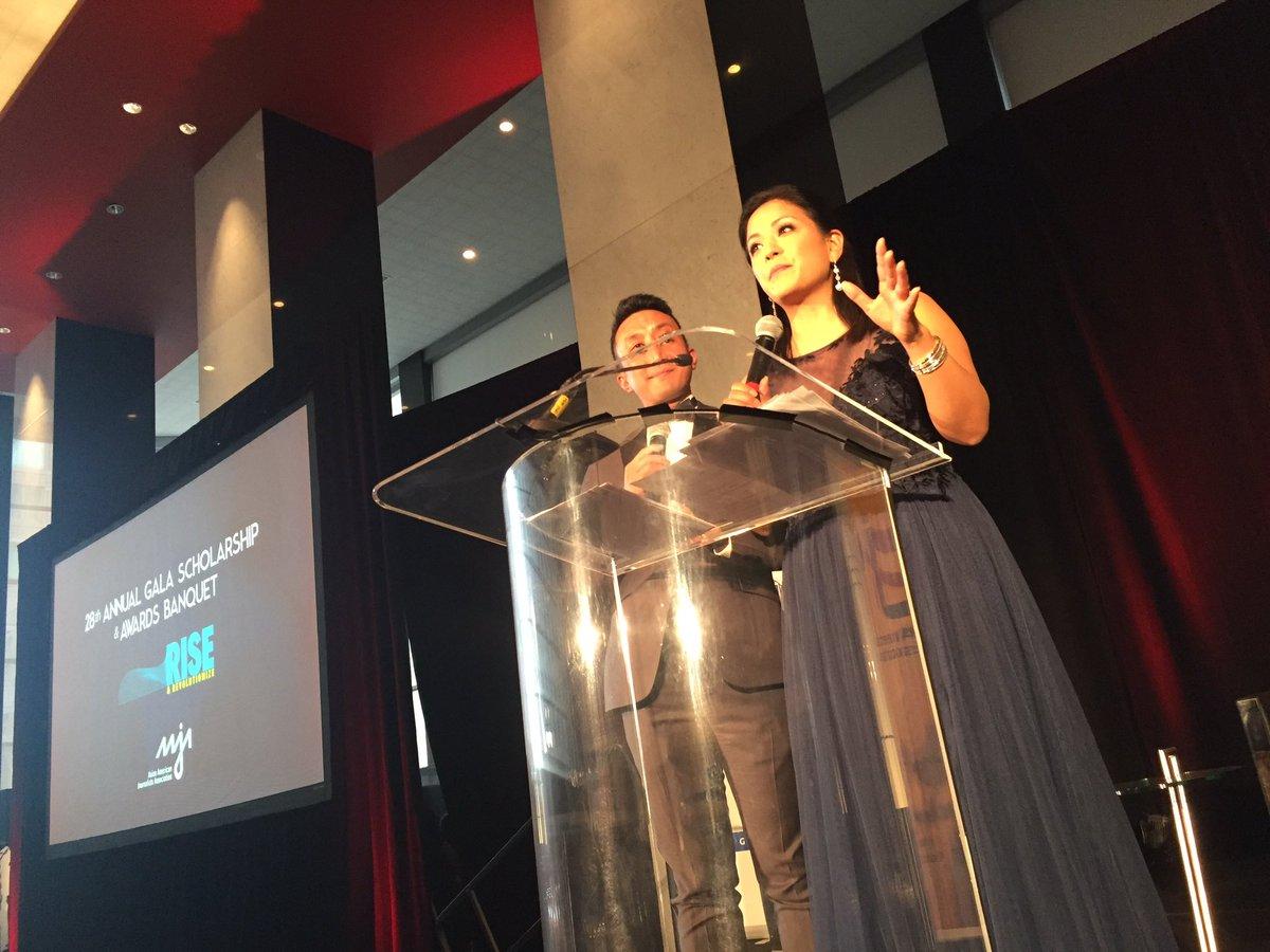 Hometown hero @DeniseNakanoTV and @RamyInocencio emceeing the #AAJA17 gala