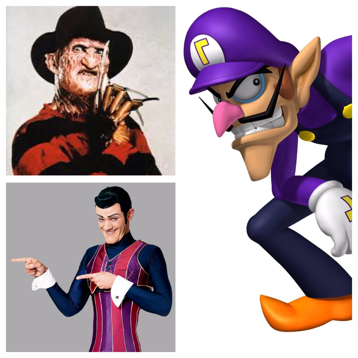 Waluigi learned his evil ways from his parents, Freddy and Robbie. Adopt me. #InstantFanTheory #FreddyKrueger #RobbieRotten #Waluigi<br>http://pic.twitter.com/kH2Sij551C
