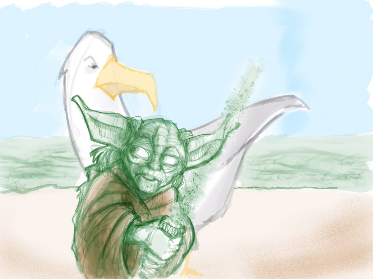 Quick #digital #procreate #sketch #yoda and a seagull from @BadLipReading #doodlebags #nashville #starwars #illustration #nashville<br>http://pic.twitter.com/rKZx2SxV0X
