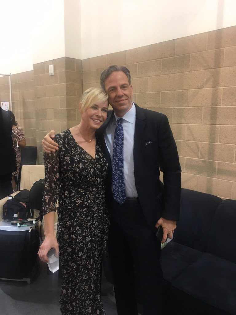 This is me and my man @jaketapper whom I love talking to and watching. #politicon #cnn #realnews #realfacts
