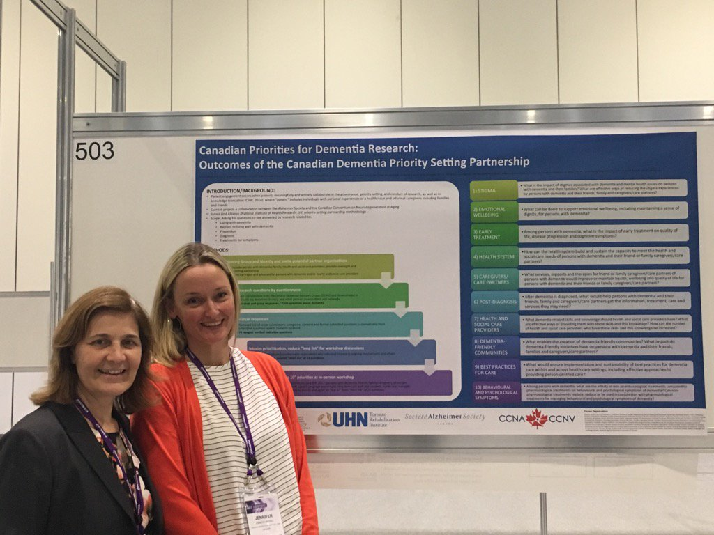 Pauline Tardif with Postdoc Jen Bethell presenting on priority setting for dementia research #AAIC2017 @AlzCanada<br>http://pic.twitter.com/hoVI8TvhJJ